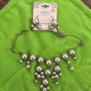 Pearl bauble necklace and earrings